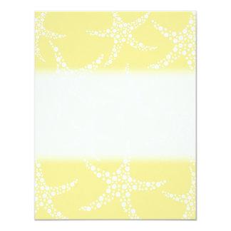 Sandy Yellow and White Starfish Pattern. 4.25x5.5 Paper Invitation Card