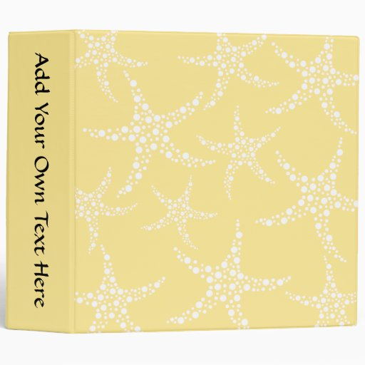 Sandy Yellow and White Starfish Pattern. Binder