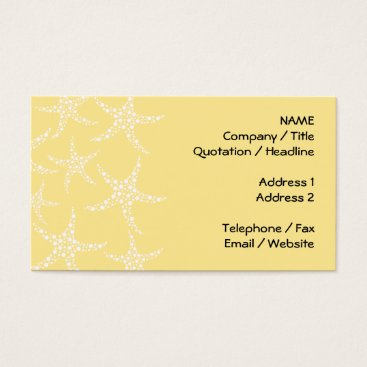 Beach Themed Sandy Yellow and White Starfish Pattern. Business Card