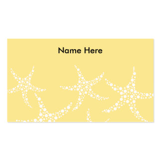 Sandy Yellow and White Starfish Pattern. Business Card Template