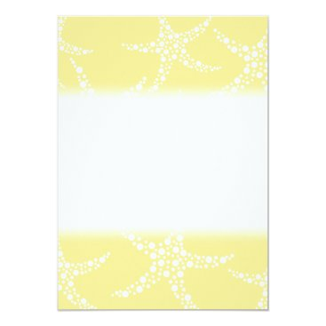 Beach Themed Sandy Yellow and White Starfish Pattern. Card