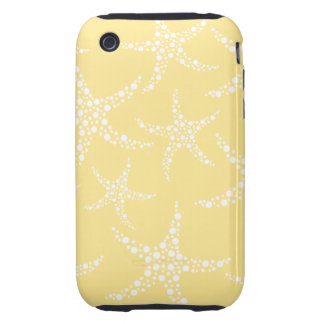 Sandy Yellow and White Starfish Pattern. iPhone 3 Tough Case