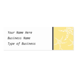 Sandy Yellow and White Starfish Pattern. Double-Sided Mini Business Cards (Pack Of 20)
