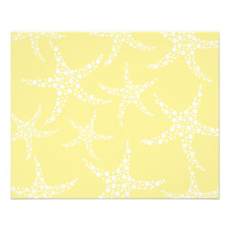 Sandy Yellow and White Starfish Pattern. Flyer