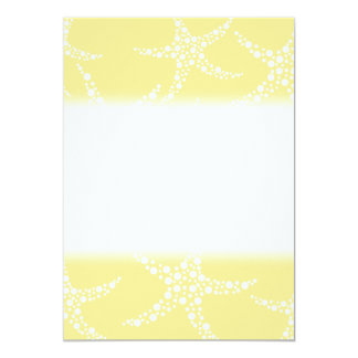 Sandy Yellow and White Starfish Pattern. 5x7 Paper Invitation Card