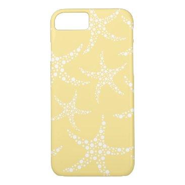 Beach Themed Sandy Yellow and White Starfish Pattern. iPhone 7 Case