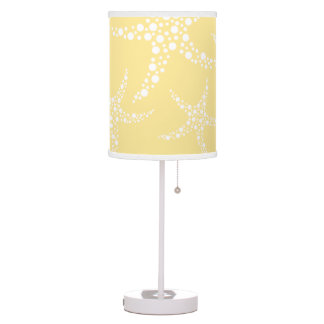 Sandy Yellow and White Starfish Pattern. Desk Lamp