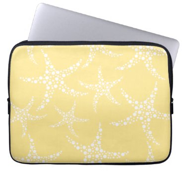 Beach Themed Sandy Yellow and White Starfish Pattern. Laptop Sleeve