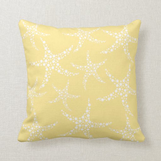 Sandy Yellow and White Starfish Pattern. Pillow