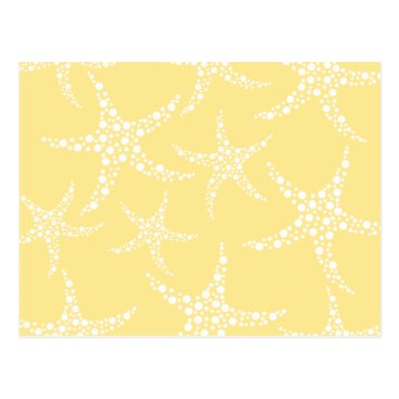 Beach Themed Sandy Yellow and White Starfish Pattern. Postcard