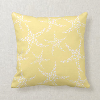 Sandy Yellow and White Starfish Pattern. Throw Pillow