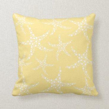 Beach Themed Sandy Yellow and White Starfish Pattern. Throw Pillow