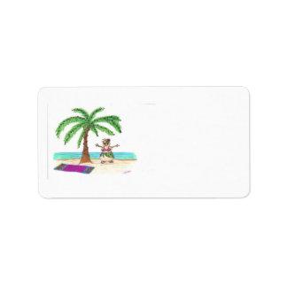 Sandyman en etiqueta de la playa etiquetas de dirección