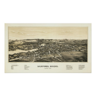 Sanford, Maine 1889 Bird's Eye View Looking East Poster