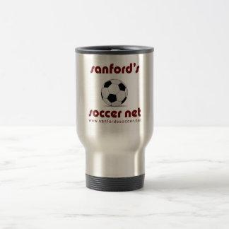 Sanford's Soccer Net logo travel mug