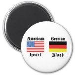 Sangre americana del alemán del corazón imán de frigorífico