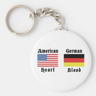 Sangre americana del alemán del corazón llaveros personalizados