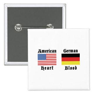 Sangre americana del alemán del corazón pin cuadrada 5 cm