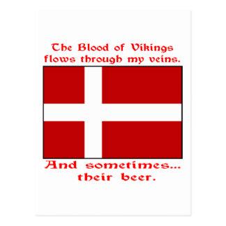 Sangre danesa y cerveza Viking Tarjetas Postales