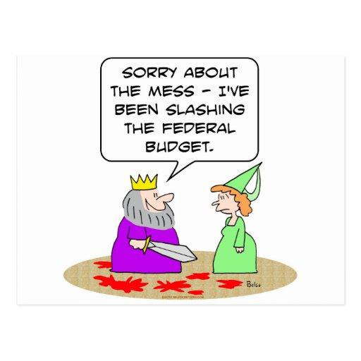 sangre de la espada del rey que reduce el presupue tarjetas postales