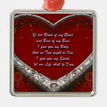 Sangre de mi sangre: Rojo del juramento de la boda Adorno Navideño Cuadrado De Metal