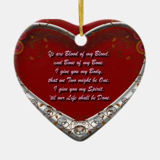 Sangre de mi sangre: Rojo gaélico escocés del Adorno Navideño De Cerámica En Forma De Corazón