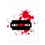 Sangre del amor de la hoja de afeitar postal