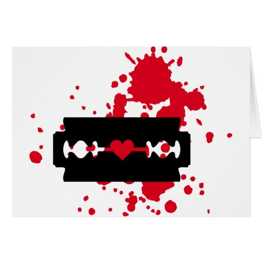 Sangre del amor de la hoja de afeitar tarjeton