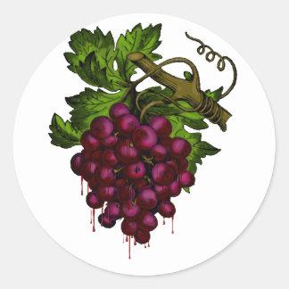 Sangre del goteo del manojo de la uva pegatina redonda