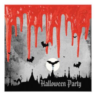 Sangre del horror y fiesta de Halloween de los pal Invitacion Personalizada