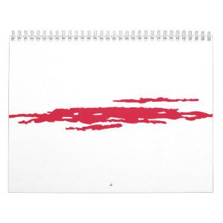 Sangre del rasguño calendario de pared