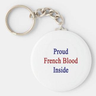 Sangre francesa orgullosa dentro llavero redondo tipo pin