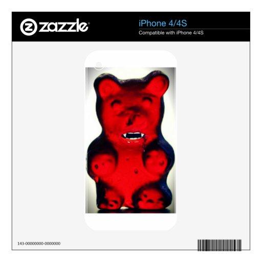 Sangre gigante que chupa el oso del caramelo calcomanías para el iPhone 4
