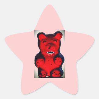 Sangre gigante que chupa el oso del caramelo pegatina en forma de estrella