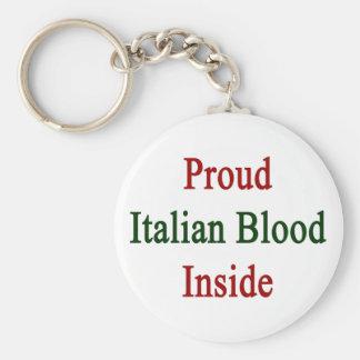 Sangre italiana orgullosa dentro llavero redondo tipo pin