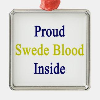 Sangre orgullosa sueco dentro adorno navideño cuadrado de metal