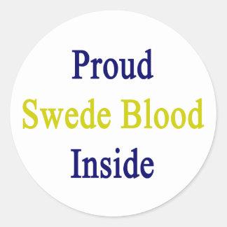 Sangre orgullosa sueco dentro pegatina redonda