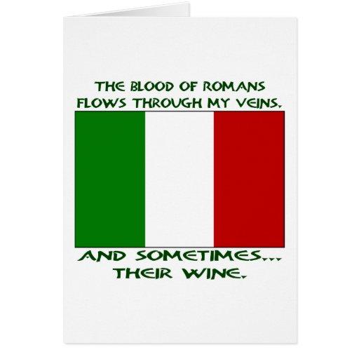 Sangre romana y vino tarjetas