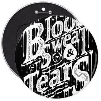 Sangre sudor y rasgones - botón negro pins