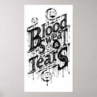 Sangre, sudor, y rasgones - poster (blanco)