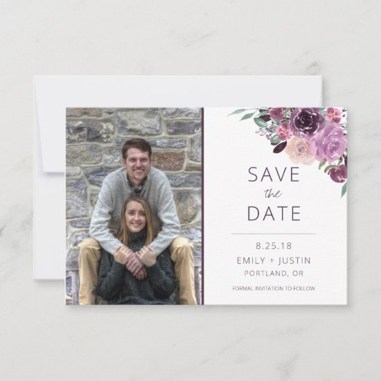 Sangria and Mauve Roses Photo Save the Date |