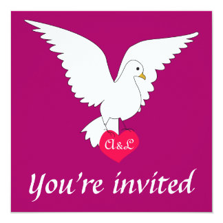 """Sangria Dove Wedding Invitation 5.25"""" Square Invitation Card"""