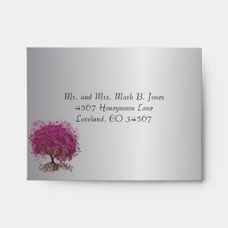 Sangria Heart Leaf Silver RSVP Envelope
