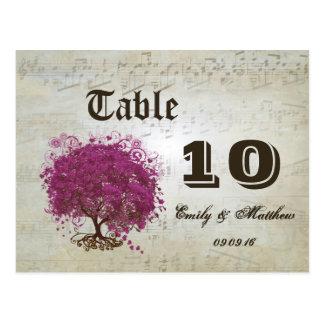 Sangria Heart Leaf Tree Table Number Postcard
