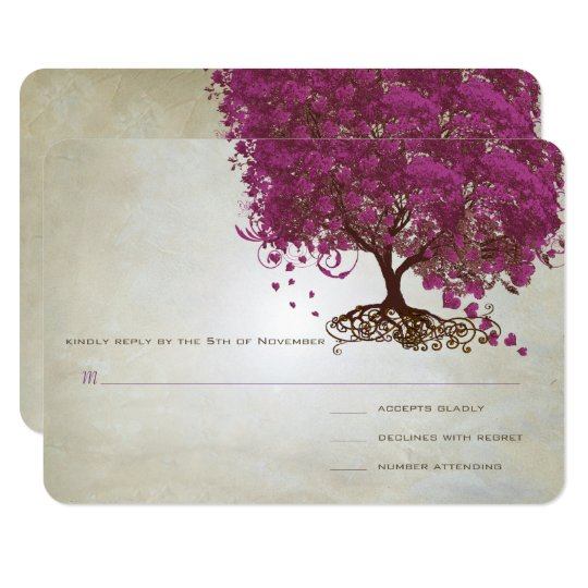 Sangria Heart Leaf Tree Wedding Invites