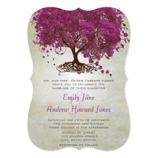 Sangria Heart Leaf Tree Wedding Invites