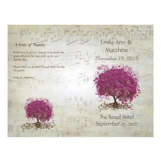 Sangria Heart Leaf Tree Wedding Programs