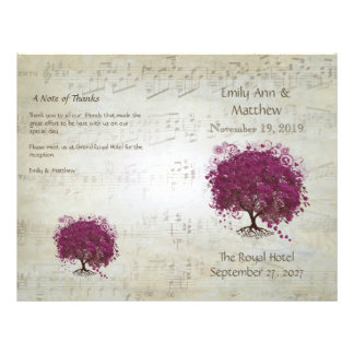 Sangria Heart Leaf Tree Wedding Programs