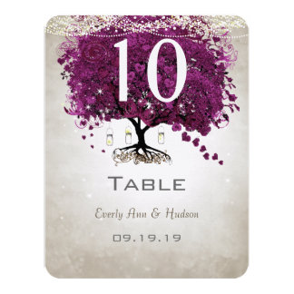Sangria Heart Leaf Wedding Table Number