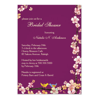 Sangria Love Birds Floral Bridal Shower Card